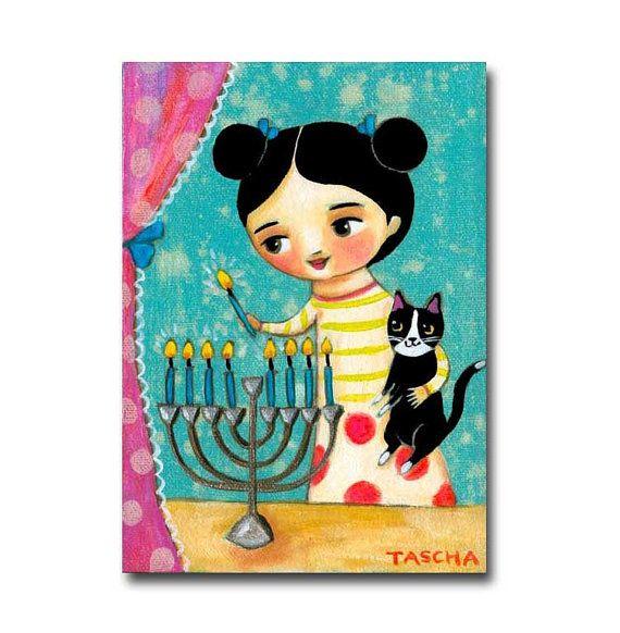 Menorah Lighting Candles for Hanukkah painting Tuxedo by tascha