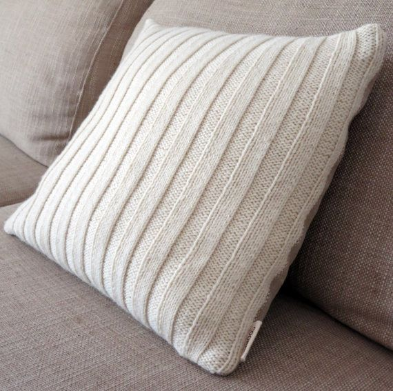 Hand Knitted Ribbed Scatter Cushion with Linen Coloured by COORIE
