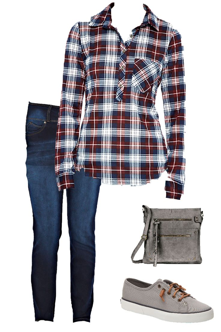 Still too chilly for shorts? Try pairing this plaid button up top with dark was skinny jeans, grey sperry boat shoes, and a gray cross over bag. this screams the perfect outfit.