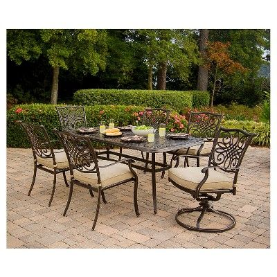 Hanover Outdoor Furniture Traditions 7 Pc. Outdoor Dining Set of Four Dining Chairs, Two Swivel Chairs, Dining Table, Umbrella, and Base, Natural Oat