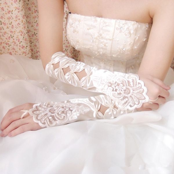 iLoveWedding 1 Pair Free Shipping Fingerless White Bride Gloves Lace Gloves Wedding Dress Bridal Accessories