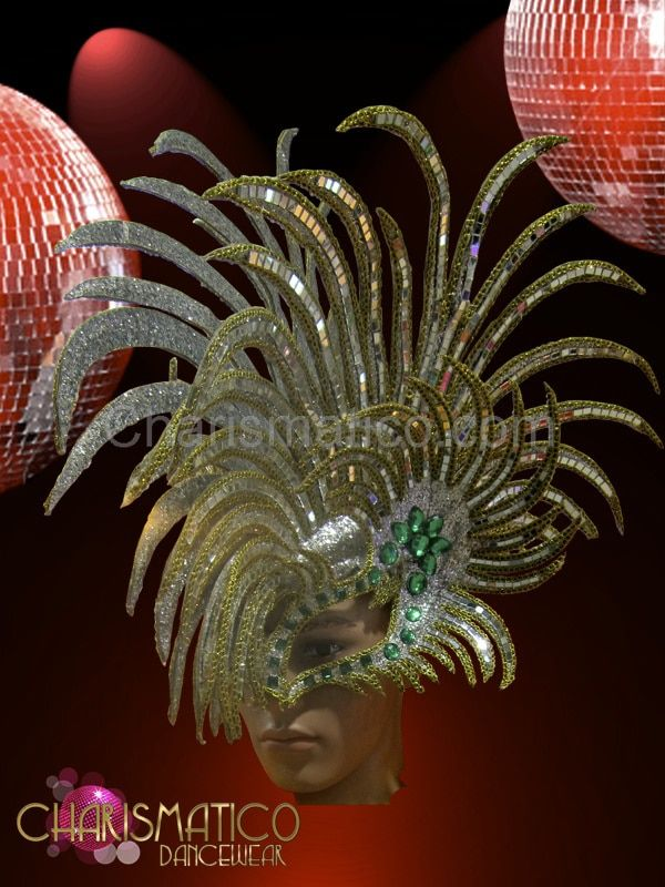 CHARISMATICO Diva Drag Queen silver glitter Mohawk headdress with gold and green