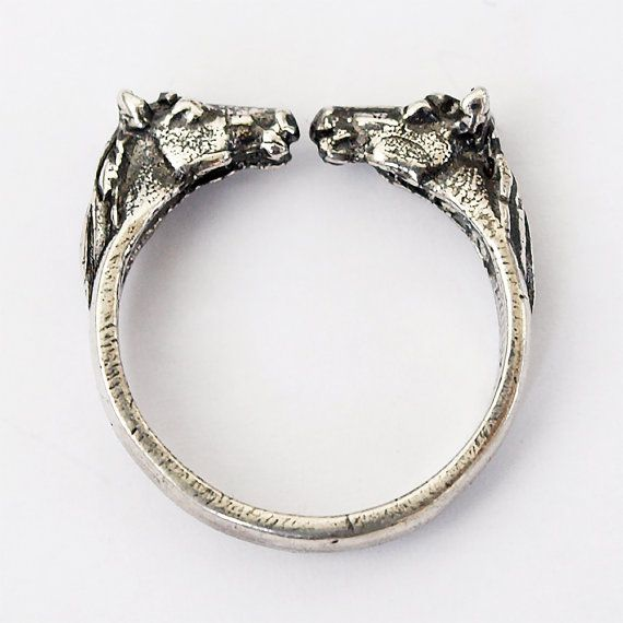 Two horses ring Horse head rings Horse ring by BDSartJewelry