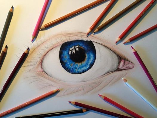 """Early stages. """"Blue Eye"""" Artist: Paige Mackay 2014. Polychromos pencils on paper."""