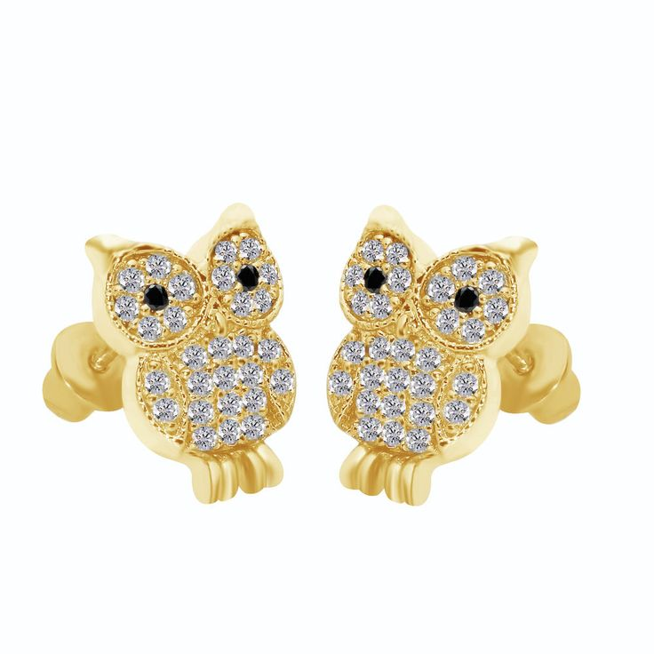 Cute Baby Owl Children 14k Gold Plated Screw Back Baby Girls Earrings #affinitygold #Stud