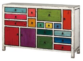 Multi Coloured Wooden Drawer Console - Poppy's Home & Garden