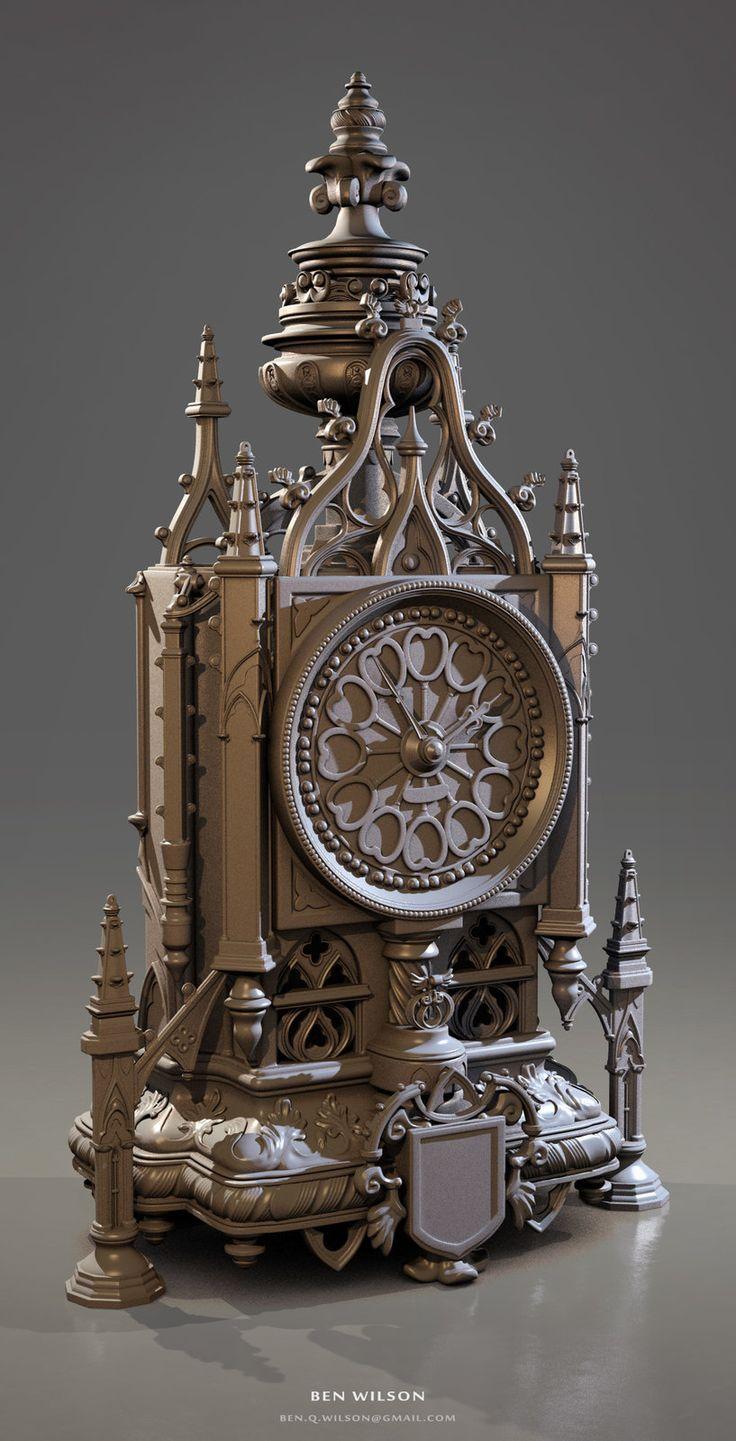 Gothic Clock, Ben Wilson on ArtStation at https://www.artstation.com/artwork/gothic-clock