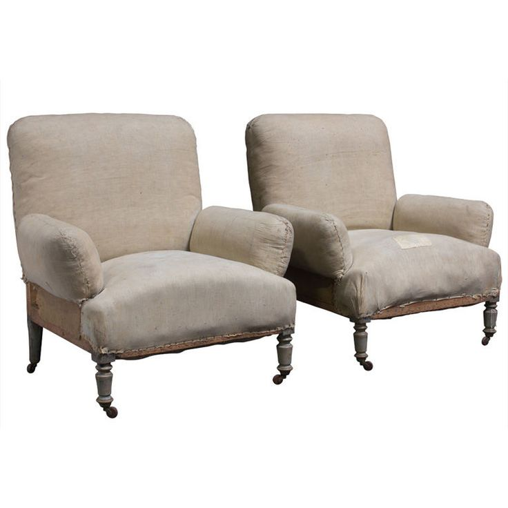Pair Of French Unusual Over Stuffed Chairs Overstuffed