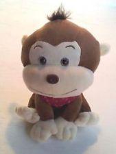 """kellytoy Monkey коричневый желтовато-коричневый Красная бандана сидя мягкая Плюшевая игрушка 8 """""""