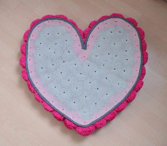 Pom Pom alfombra alfombra pompón alfombra de corazón