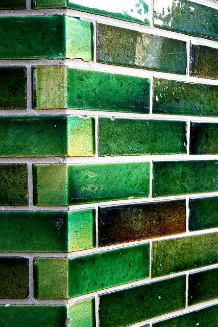 green tiles: Handmade tiles can be colour coordinated and customized re. shape, texture, pattern, etc.