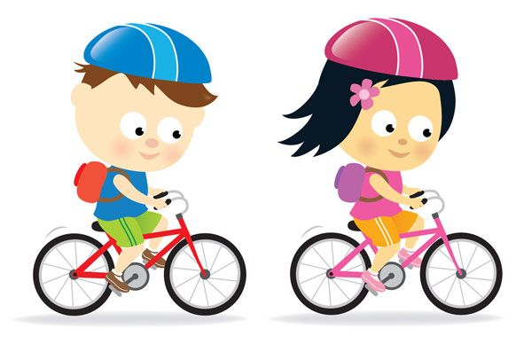 Two Children Riding Bicycles Exercise For Kids Kids Clipart