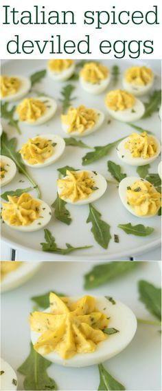 Italian spiced deviled eggs are an Italian twist on a classic dish. Mascarpone, fresh basil and a very special Italian spice blend take these deviled eggs from tasting good to tasting great!