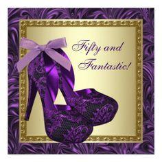 50 th bday free party invitation templates | ... Womans Purple 50th Birthday Party Custom Invitations - Zazzle.com.au