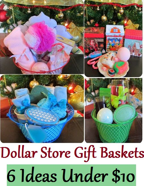 Dollar Store Gift Baskets from Dollar Tree: Spa, Facial, Pedicure / Feet, Kitchen.