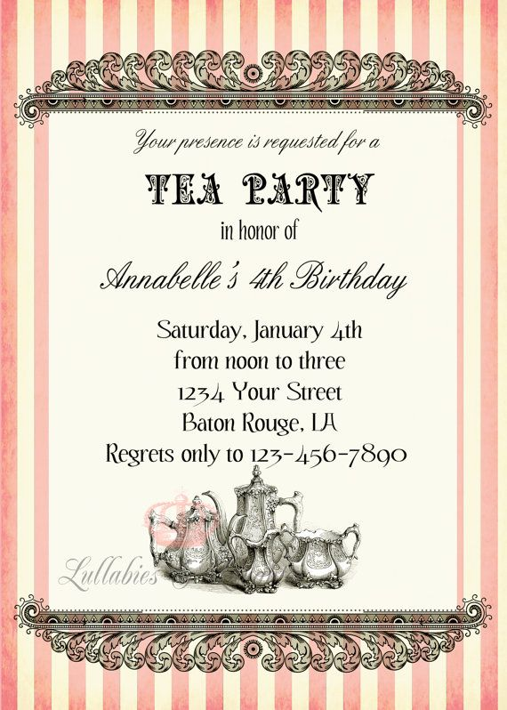 Best Tea Party Invitations Images On Pinterest Tea Parties - Invitation in french to birthday party