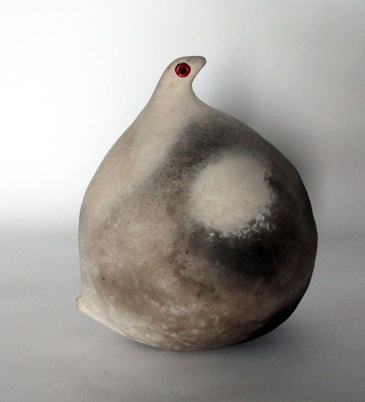 'Fat Bird with White Spot' / coiled, smoke-fired ceramics -by Anna Keiller