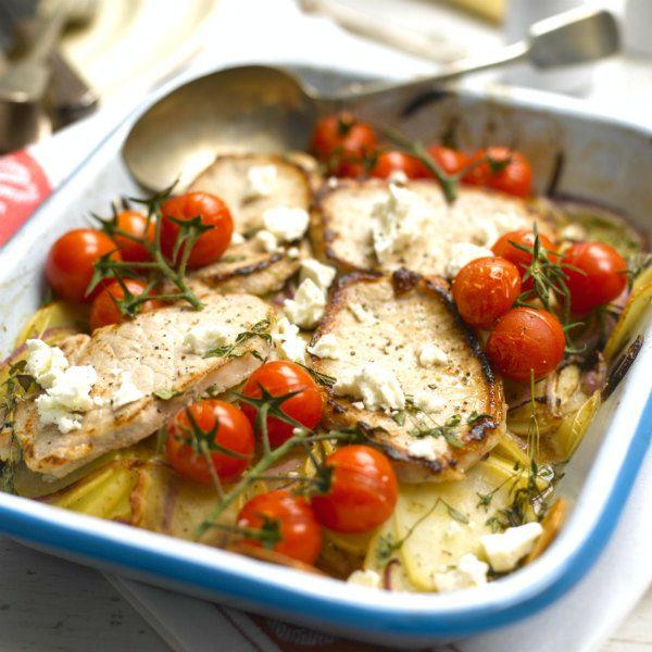 entulinea.es: Receta de entulínea - Filete de cerdo con patatas, queso feta y tomates