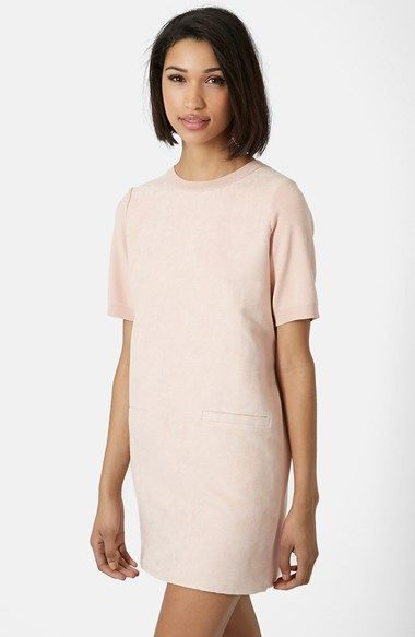 Topshop Suede Front Shift Dress available at #Nordstrom