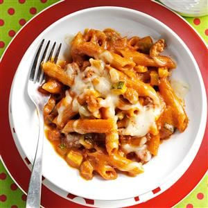 Penne Beef Bake Recipe -I had ground beef and veggies on hand so I came up with this pizza-flavored casserole. I never expected my family to love it so much. It's a good way to sneak in some extra veggies for the kids. —Jennifer Wise, Selinsgrove, Pennsylvania