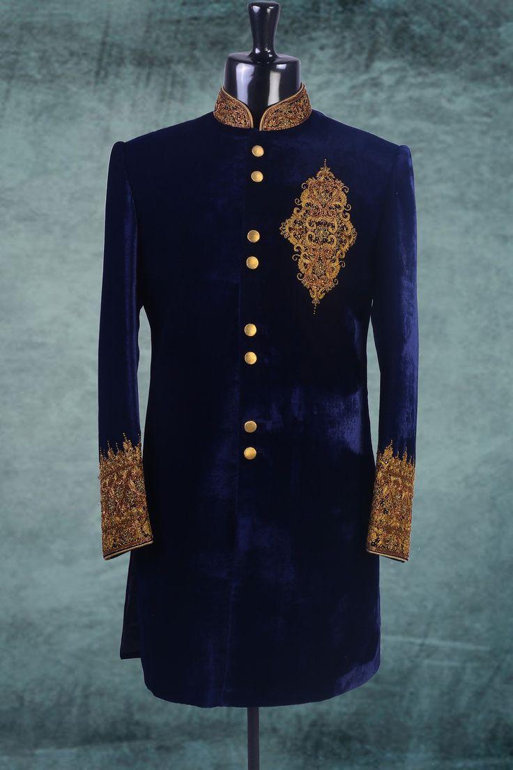 Royal blue color velvet indo western sherwani in gold for Indo western wedding dress for men