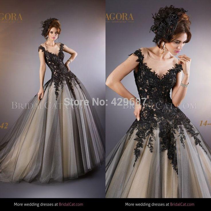 mode 2014 à manches courtes en dentelle de tulle de mariée appliqued robeune ligne de balayage train robes de mariée noire um713