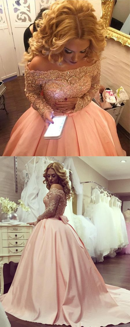New Arrival Round Neck Long Sleeves Pink Lace Wedding Dress