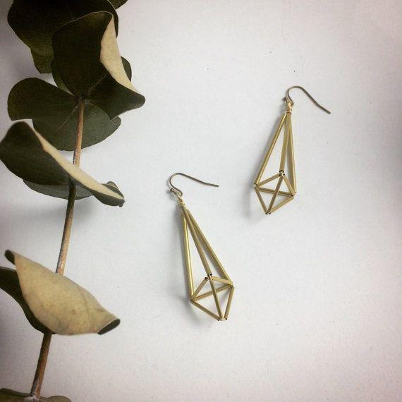 Matrix Himmeli Brass Large Earrings