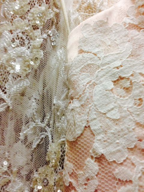 Antique Chantilly lace over a blush-dyed sateen #EcoBride www.ecobride.co.za