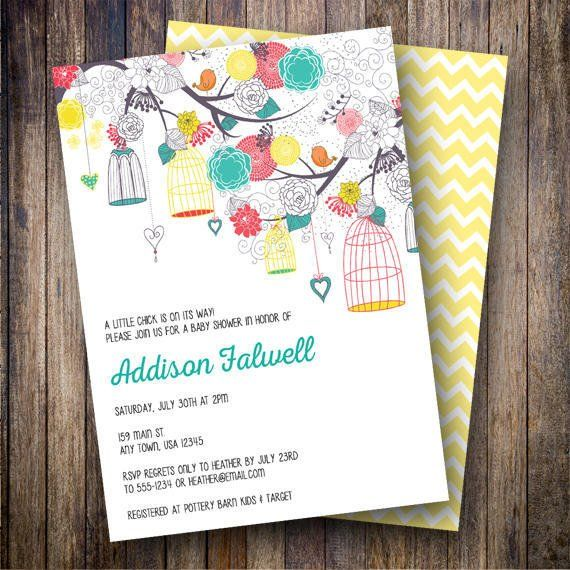 Birdcage Baby Shower Invitation, Birdcage Baby Shower Invite, Printable, Floral Baby Shower Invitation, Birdcages in Teal, Red and Yellow - Spotted Gum Design - Etsy