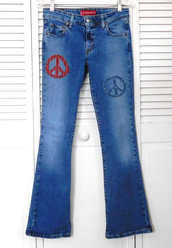 a69f5bf7da8 Levis Jeans Patchwork Size 5 jr Patched Upcycled Peace Sign Patch American  Flag Boho Hippie Superlow Hip Hugger Low Rise
