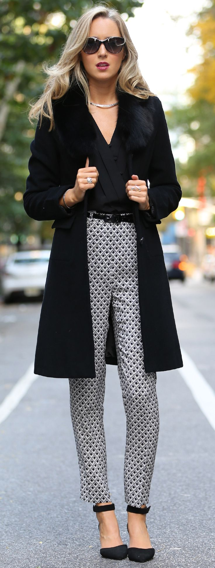 The Classy Cubicle: Coat Crush {fashion blog, young professional women, office style inspiration, corporate work wear, fall fashion trends, reiss, geometric print, silk pants, heirloom, silk button v-neck top, sheer sleeves, ralph lauren, prada, asos, ankle strap heels, silver choker}