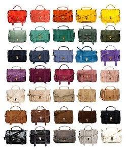 Proenza Shoulder Bag  rainbow (I'll take the grape purple, dark midnight blue, griege/grey, camel, hot pink, pumpkin orange, marigold, turquoise, and dark teal)