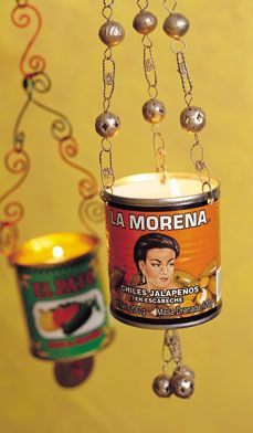Cans of Mexican chilies to make Spicy Candle Lanterns. Great for your patio or porch at Halloween or Day of the Dead celebrations.