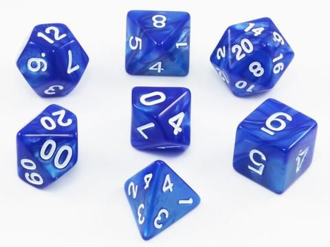 Pearl Blue w//Gold inking NEW Dice Set of 6 D6 16mm