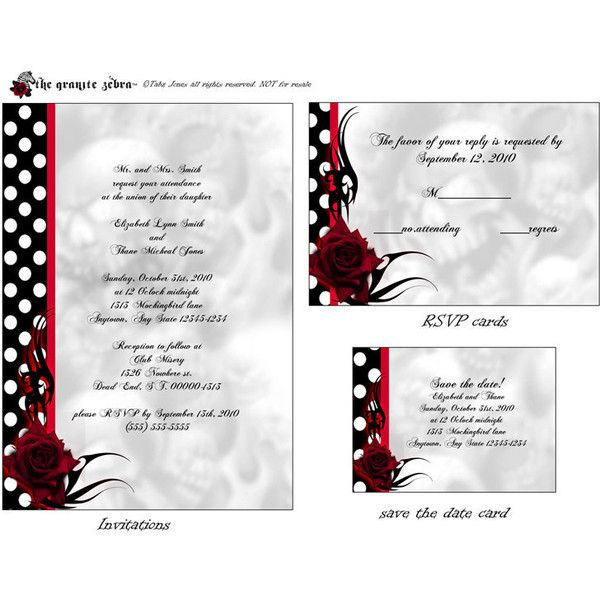 21 best 50s themed quinceanera party images on pinterest for Free printable gothic wedding invitations