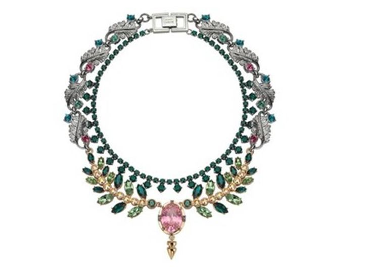 Mawi Pink and Green Crystal Double Necklace