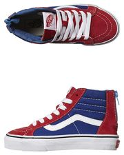 VANS KIDS SK8 HI ZIP SHOE - RED TRUE BLUE