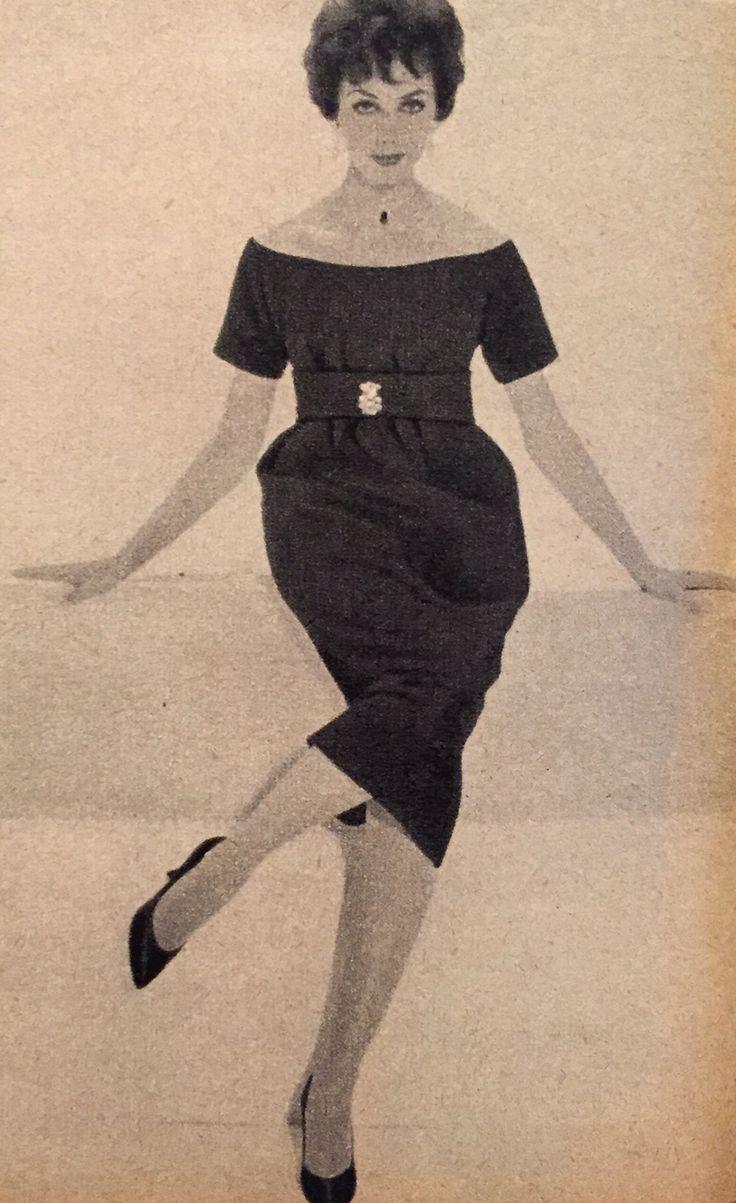 Christian Dior- 1958 Black wool off shoulder sheath pencil dress. Wide waist band with crystal brooch. Elle No. 662- September 1, 1958