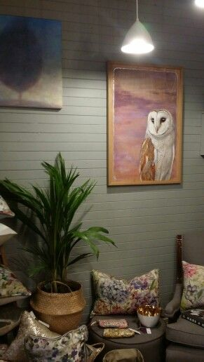 'The Gloaming', goauche on hardwood ply with silver foil (shown at Auld Alliance Merchants, Olinda). Barn owl painting by Felicity Grabkowski.