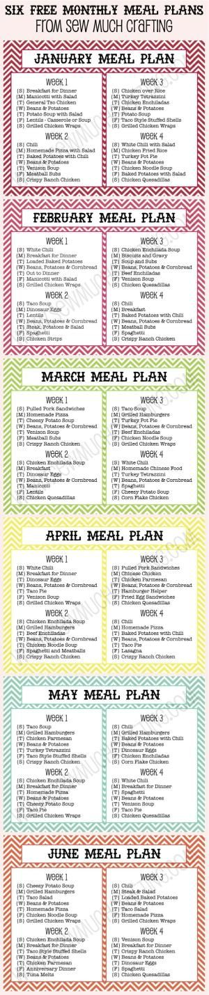 Six FREE Monthly Meal Plan Printables by niko2013
