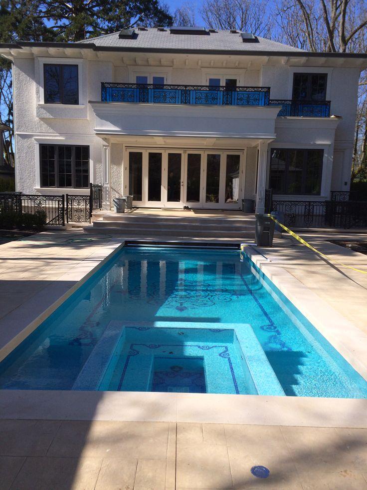 Sandstone pool coping Stamped concrete pool deck