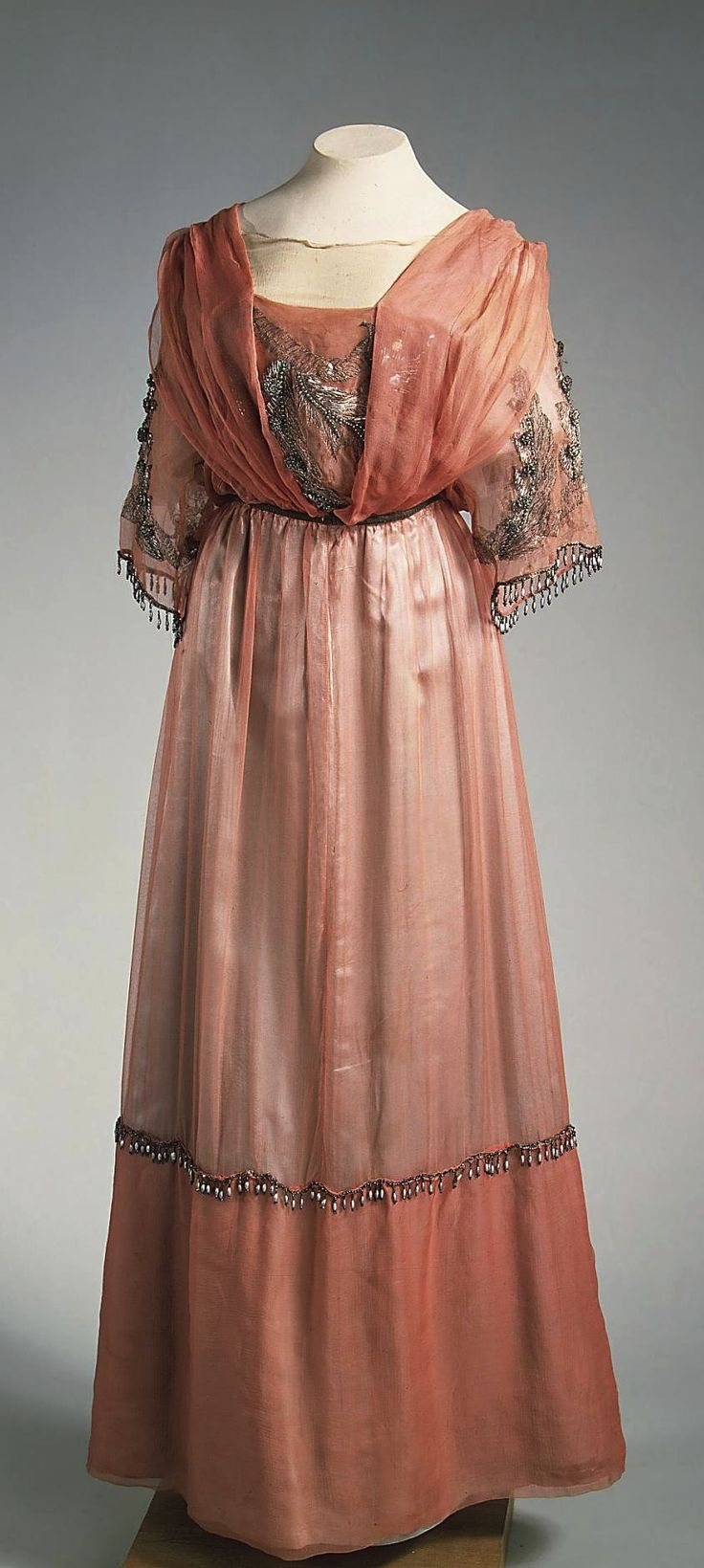 Evening Dress, Moscow, 1910s, at the State Hermitage Museum. Chiffon, satin, silk thread and glass beads. See: http://www.hermitagemuseum.org/wps/portal/hermitage/digital-collection/08.+Applied+Arts/1521128/?lng=en