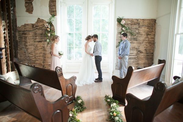 Southern Weddings Magazine--Small church wedding, simple, great light, a few pews