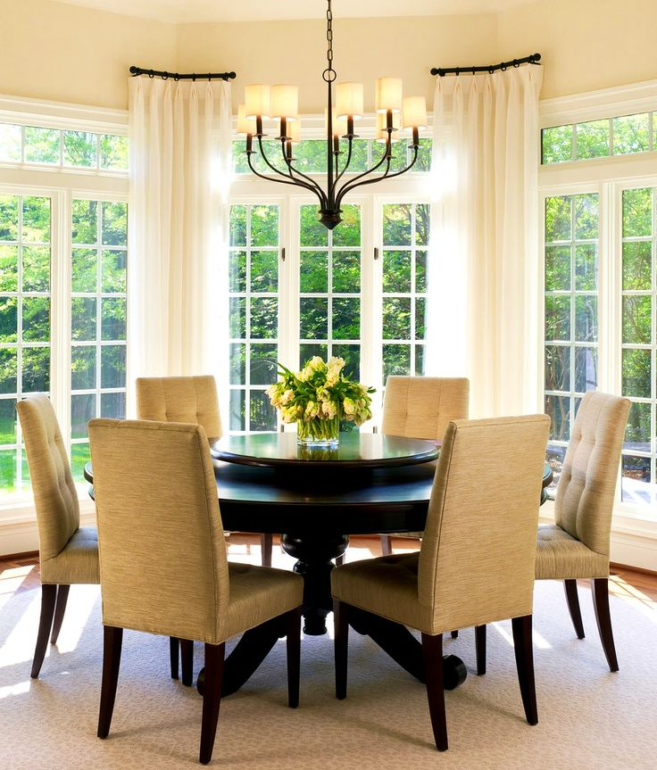 1000 ideas about bay window curtains on pinterest bay for Dining room valance ideas