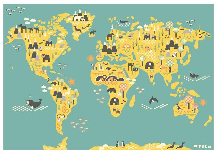 W:form wereldkaart atlas poster 50x70