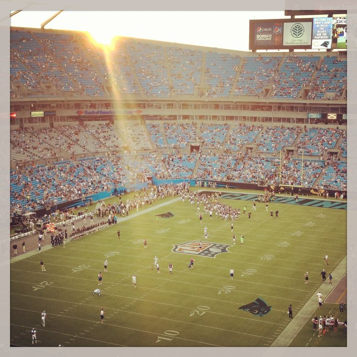 Sunset at Bank of America Stadium for a Carolina Panthers football game.