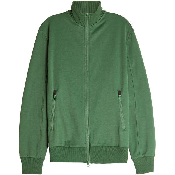 Adidas Y-3 Zipped Jacket ($190) ❤ liked on Polyvore featuring outerwear, jackets, green, mens green jacket, mens zipper jacket, adidas mens jackets and mens zip jacket