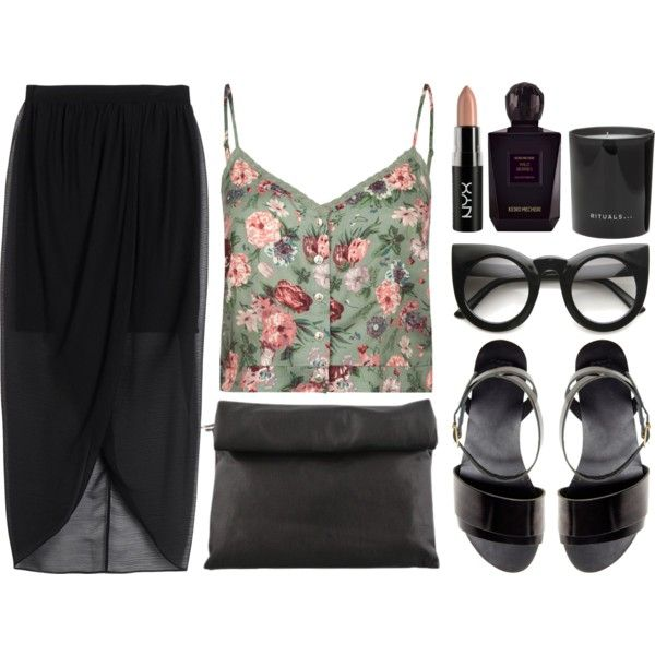 dark flower by rosiee22 on Polyvore featuring mode, Full Tilt, Alice + Olivia, ASOS, NYX, Keiko Mecheri and Rituals
