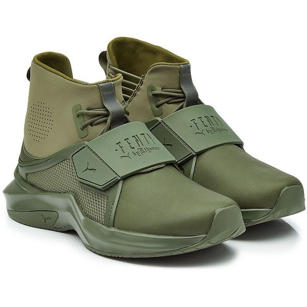 FENTY Puma by Rihanna Sneakers ($210) ❤ liked on Polyvore featuring shoes, sneakers, green, high top trainers, puma high tops, green high top shoes, puma footwear and high-top sneakers